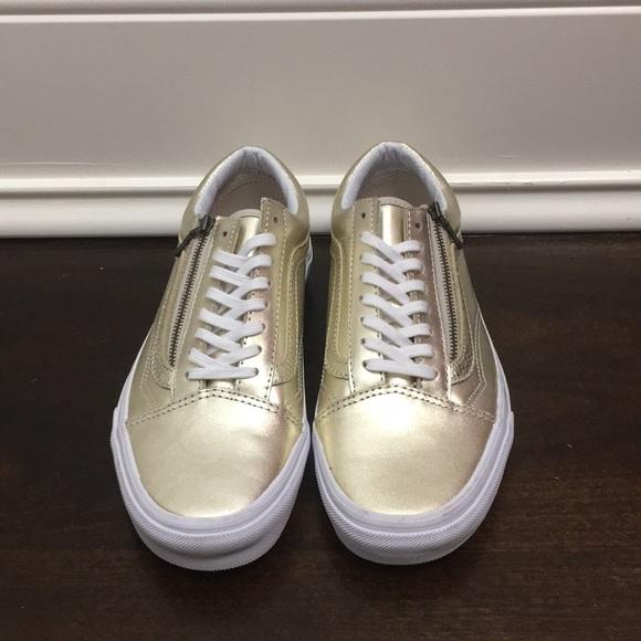 Soleado Jirafa Pantano  Vans Shoes | Vans Leather Old Skool Zip Gold Sneakers | Poshmark